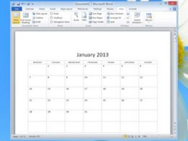 how to use the calendar wizard in microsoft word