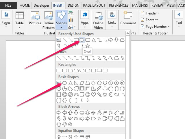how to draw circles in microsoft word