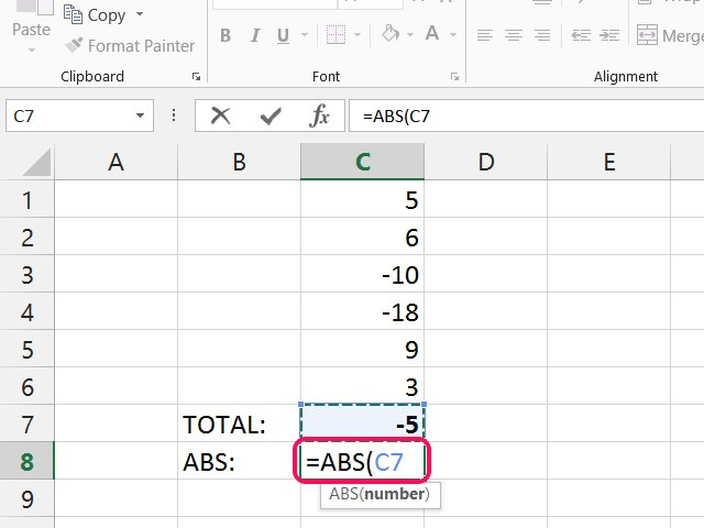 how to use absolute vaues in excel