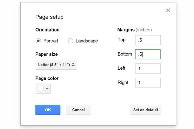 how do i set margins in google docs