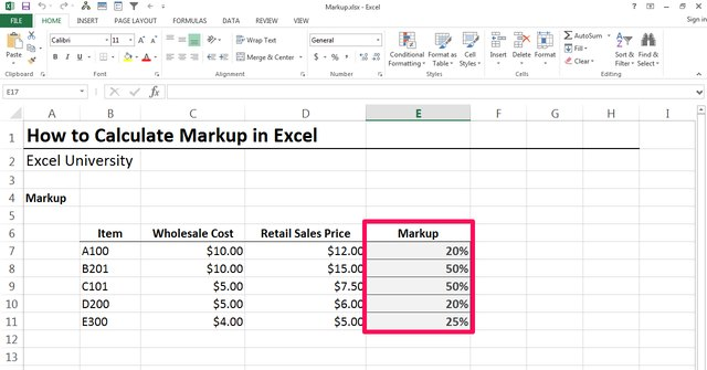 how to calculate markup in excel. Black Bedroom Furniture Sets. Home Design Ideas
