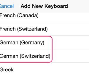 How to type umlaut letters on an iphone techwalla select a german language keyboard to add to the iphone expocarfo Images