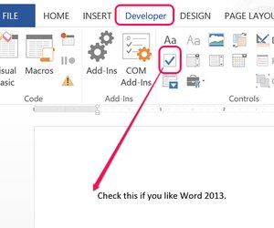 how to add tick box in word