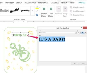 How to use microsoft word to make your own baby shower invitations change the wordart text if desired filmwisefo