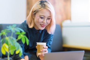 Business woman working in co-working space