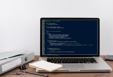 program code on computer screen. Programming and coding technology background