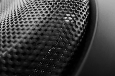 Abstract  black metal speaker grid front