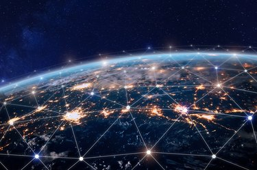 Global telecommunication network, nodes connected around earth, internet, worldwide communication