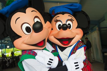 Mickey Mouse and Minnie Mouse in Fantasia Gardens Pavilion