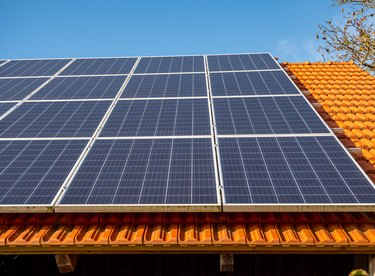 Solar roof photovoltaic panel at the house