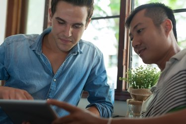 Two Men Using Tablet, Asian Mix Race Friends Guys