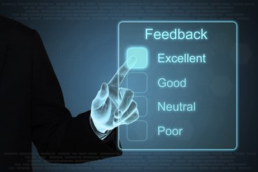 business hand clicking feedback on touch screen