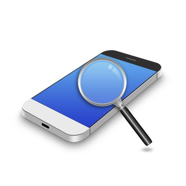 Magnifying glass  on smartphone,cell phone illustration