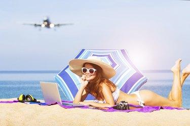 Young women enjoying vacation at the beach