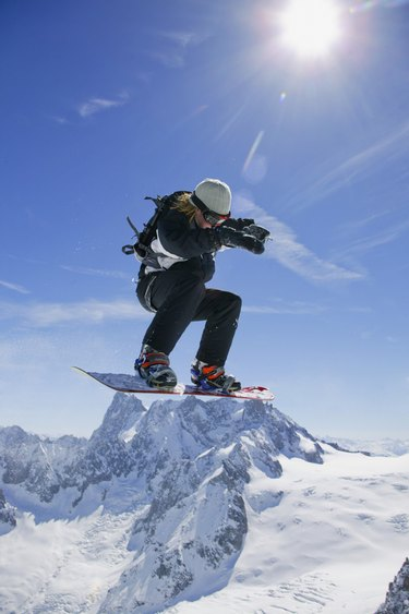 Snowboarder in mid-air