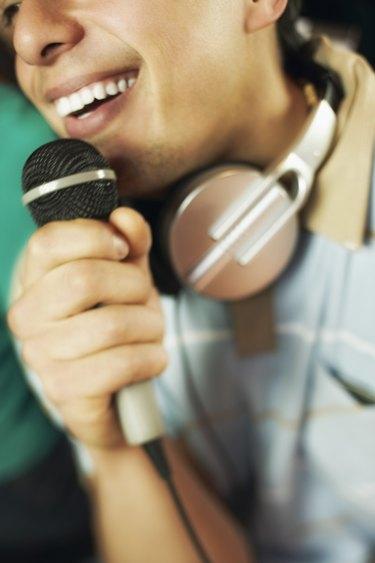 Cropped man singing