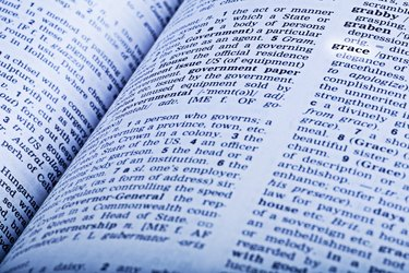 An dictionary open to the word grace