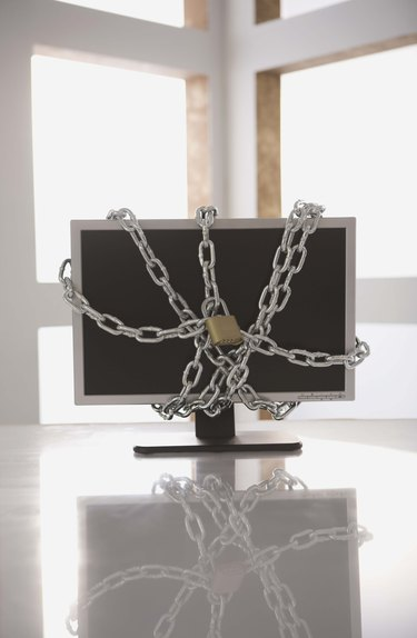 Chains on computer monitor