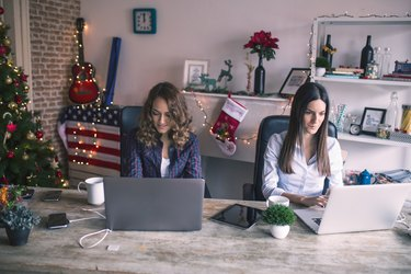 Young women working at home office or co-working space