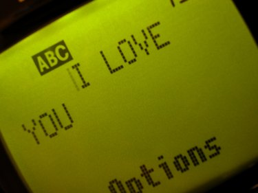 I love you on cell phone screen