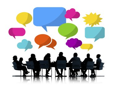 Silhouette of Business People Meeting with Speech Bubbles