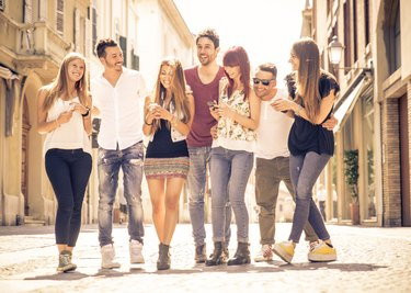 group of friends meeting in the city center