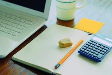 Work desk with note pad