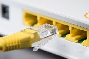 RJ45 Lan Port of Modem Router closeup
