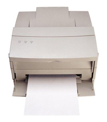 Front view of desktop laser printer
