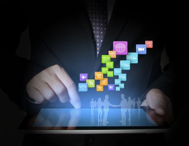touch- tablet in hands businessmen