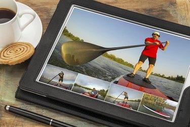 stand up paddling on digital tablet