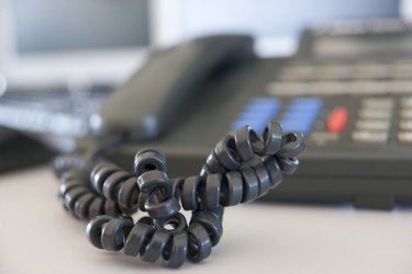 Shot of a telephone cord