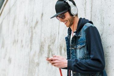 Enjoying his favorite music.