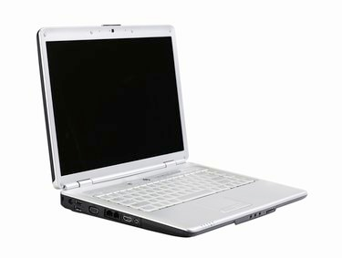 Silver laptop, side angle view