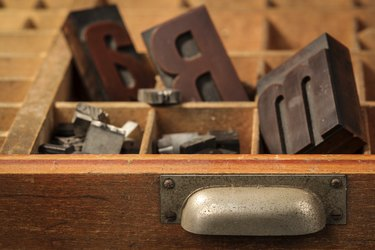 Letter case with old wood types
