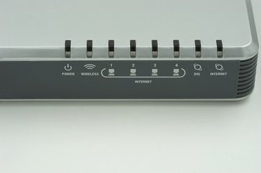 face of router on white background for display