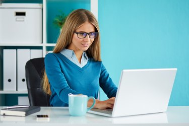 Young business woman working