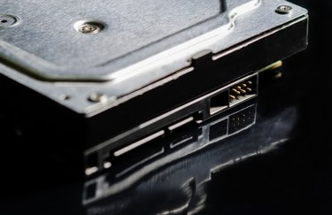 Close up of hard drive from the computer