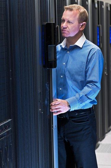 Man working in datacenter