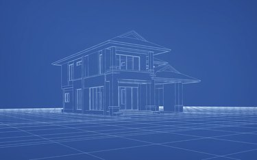 Wireframe 3D rendering of house