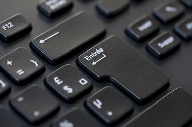 Close up of a black computer french keyboard