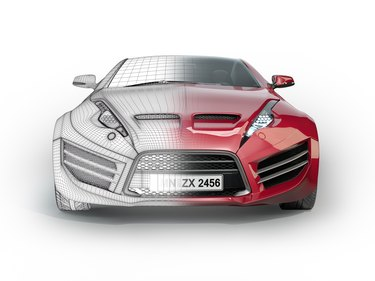 Sports car with wireframe
