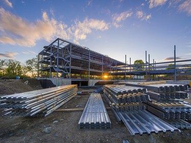 Commercial building construction site