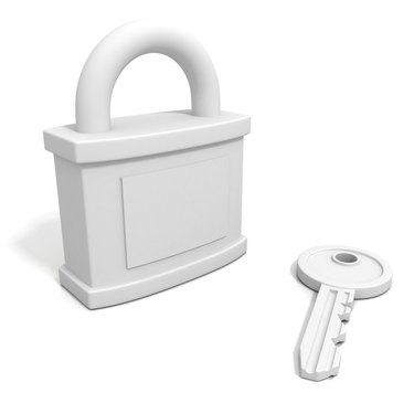 concept security padlock with key on white