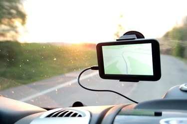 Global Positioning System attached to the windshield