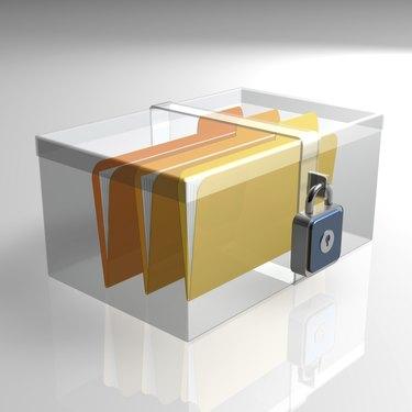 Folders files secured in box
