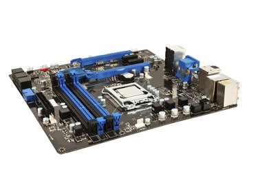 Laptop black and blue mother board