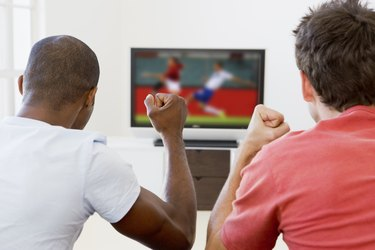 Two men in living room watching television and cheering