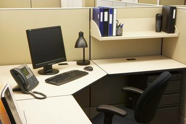 Computer and files in office