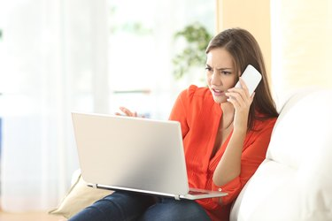 Angry woman calling custom service